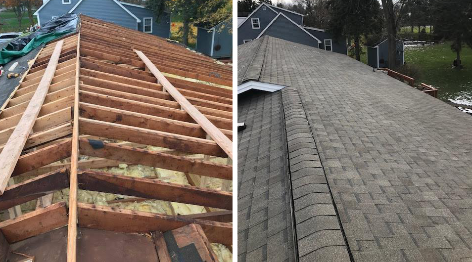 Before and after of a roof in Clarence.
