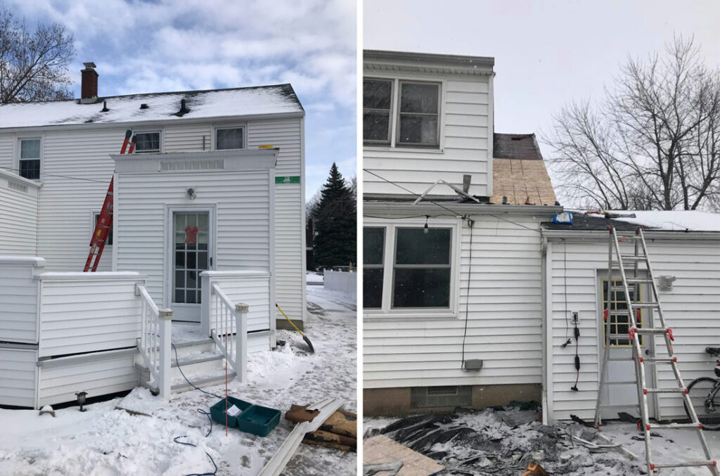 two houses under construction