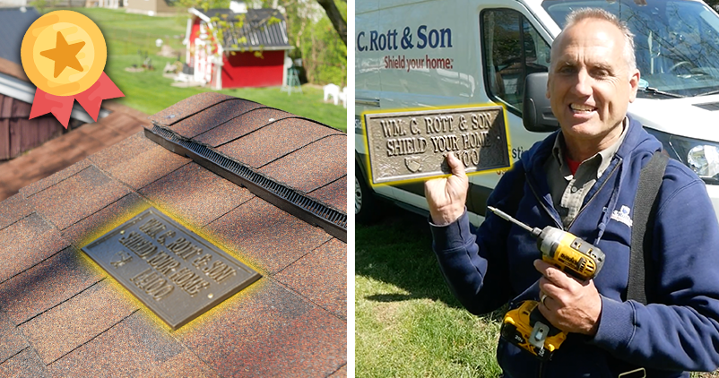 Custom-make roof plaques with 20 year transferable workmanship warranty from William C. Rott and Sons.